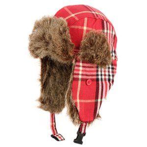 Unisex Red Plaid Winter Faux Fur Ski Hat
